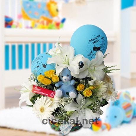Hoş Geldin Erkek Bebek Çiçeği