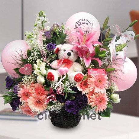 Sepette Büyük Pembe Bebek Çiçeği