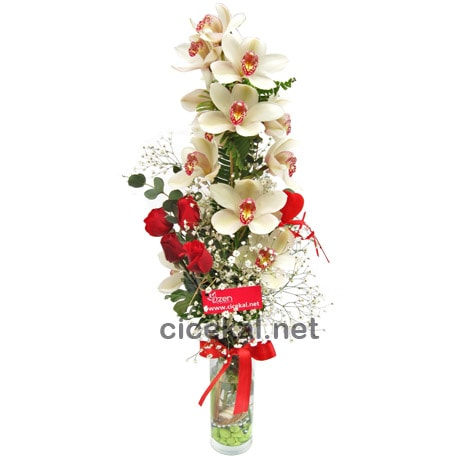 Vazoda Kırmızı Gül ve Orkide